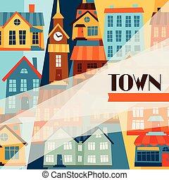 ville, mignon, coloré, houses., conception, fond