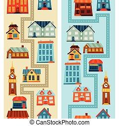 ville, mignon, coloré, houses., seamless, motifs
