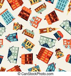 ville, mignon, coloré, modèle, houses., seamless