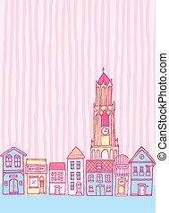 ville, mignon, vieux, dessin animé