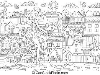ville, mode, vélo, bo, coloration, équitation, girl, ton