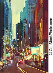 ville, moderne, lumière colorée
