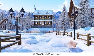 ville, montagne, hiver, neige a couvert, jour, alpin