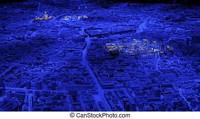 ville, moscou, 3d, modèle, interactif