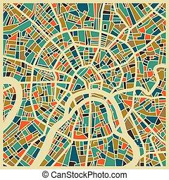 ville, moscou, coloré, plan