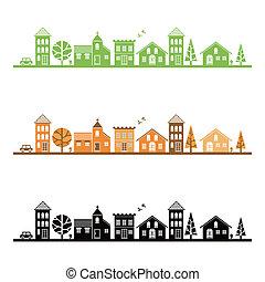 ville, moyenne, illustration
