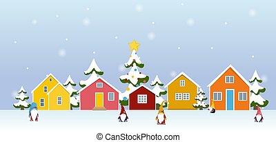 ville, neige, arbres, bâtiments, caractères, hiver, couvert, gnome, coloré, dessin animé, village, paysage, noël