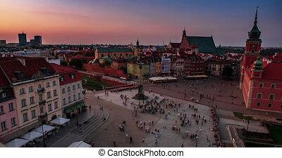 ville, nuit, varsovie