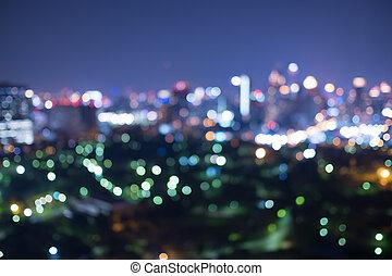 ville, nuit, vue brouillée