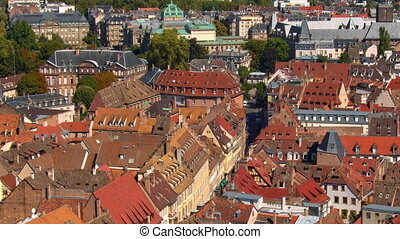 ville, nuremberg, vieux, toits, day., panoramique, rouges, vue