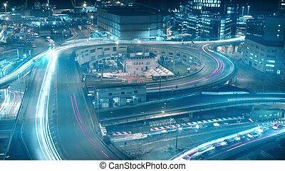 ville, occupé, coup, échange, long, trafic, nuit, route, exposition