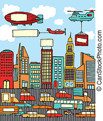 ville, occupé, dessin animé