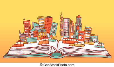 ville, occupé, livre ouvert, afficher
