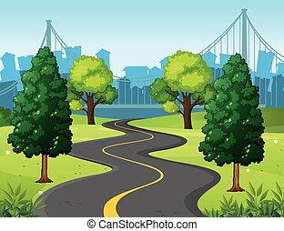 ville, ondulé, parc, route