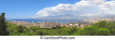 ville, panorama, méditerranéen, france, mer, marseille, sud