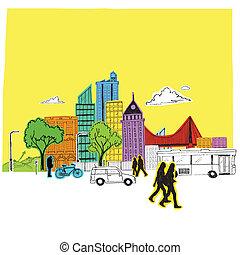 ville, papier, coloré