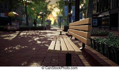 ville parc, arbres, bancs, calme