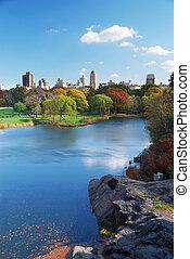 ville, parc central, lac, automne, york, nouveau, manhattan