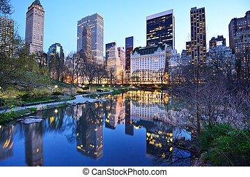 ville, parc central, lac, york, nouveau