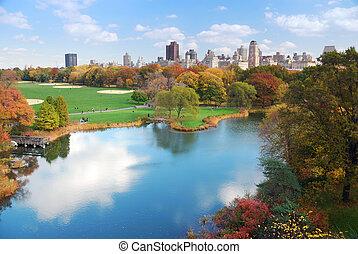 ville, parc central, york, nouveau, manhattan