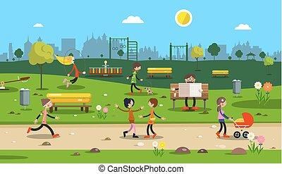 ville, park., vector., gens