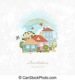 ville, paysage, invitation, carte, vendange