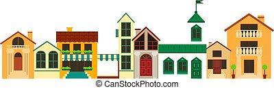 ville, paysage., vieux, illustration., coloré, maisons, vecteur, européen