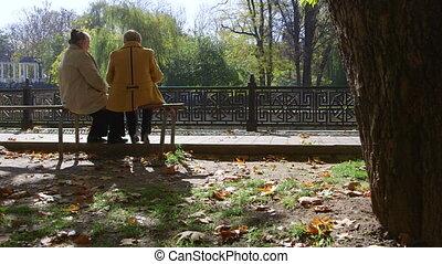 ville, personnes troisième âge, parc