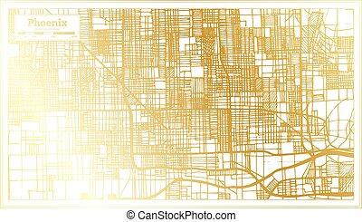 ville, phénix, carte, contour, retro style, doré, color., usa, map.