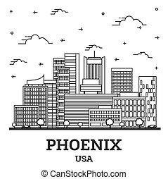 ville, phénix, contour, white., bâtiments, usa, arizona, horizon, isolé, moderne