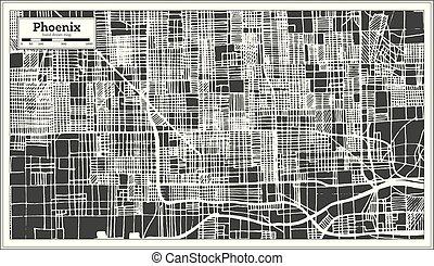 ville, phénix, usa, carte, map., retro, style., contour