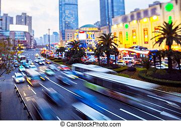 ville, pistes, occupé, trafic, moderne, horizon, rue