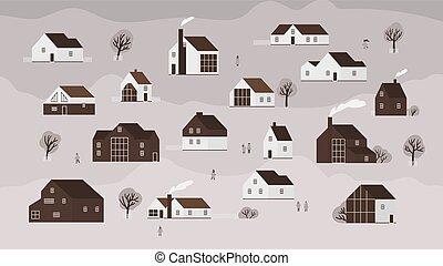 ville, plat, marche, ou, fond, bâtiments, pays, gens., moderne, illustration, dessin animé, maisons, banlieue, vecteur, divers, architecture, village., monochrome, scandinave, bannière, style.