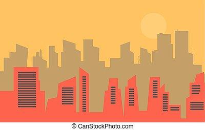ville, plat, silhouette, vecteur, vieux
