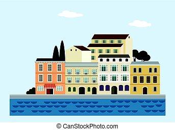 ville, plat, vieux, illustration., coloré, méditerranéen, houses., vecteur, sea., italien, croate, ou, paysage, design.