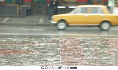 ville, pluvieux, rue, jour