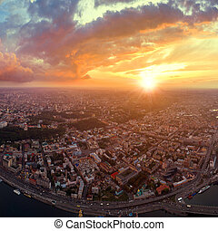 ville, podol, panorama, kiev, grand, sunset.