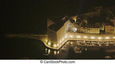 ville, port, nuit, vieux, dubrovnik