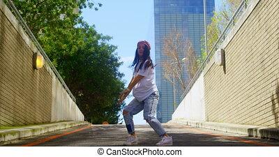 ville, pratiquer, route, danseur, 4k, danse, jeune, asphalte
