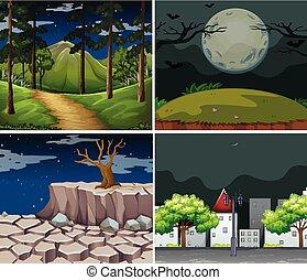 ville, quatre, scènes, fond, forêt