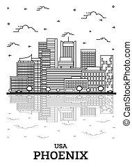 ville, réflexions, phénix, contour, white., bâtiments, usa, arizona, horizon, isolé, moderne