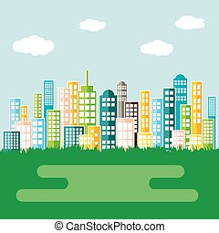ville, résumé, coloré, skyline.