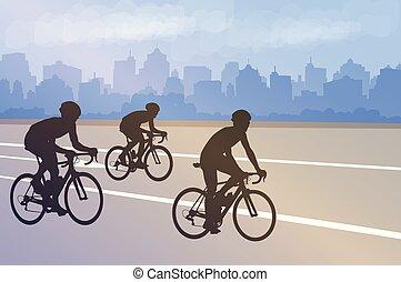 ville, résumé, cyclistes, silhouettes, fond