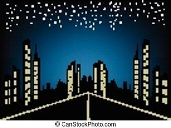 ville, résumé, fond, nuit