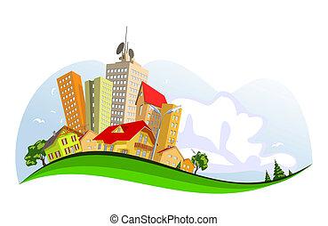 ville, résumé, vecteur, -, été