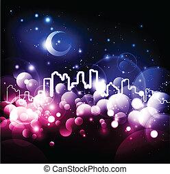 ville, résumé, vecteur, fond, nuit