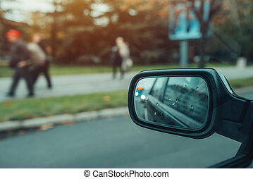 ville, reflet, trafic voiture, miroir, côté