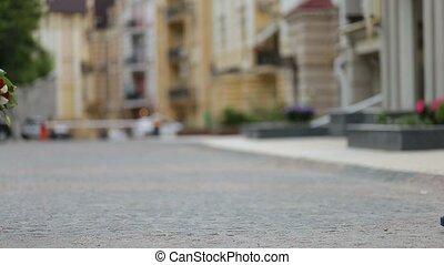 ville, romantique coupler, rue, date, réunion