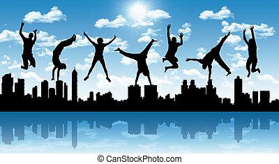 ville, sauter, silhouette, heureux, gens