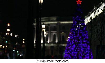 ville, scintillements, arbre, noël, nuit